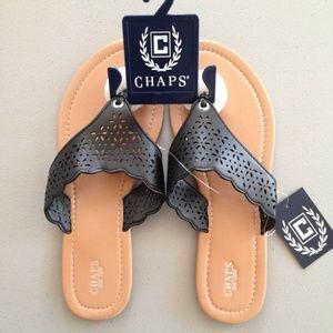 Women's Chaps Laser-Cut Flip Flop Sandals - Black